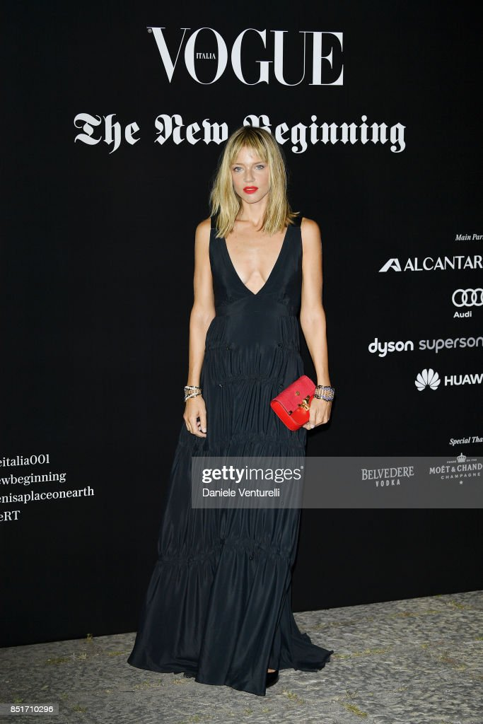 Gaia Trussardi attends theVogue Italia 'The New Beginning' Party during Milan Fashion Week Spring/Summer 2018 on September 22, 2017 in Milan, Italy.