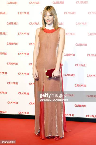 Gaia Trussardi walks the red carpet for Campari Red Diaries 'The Legend of Red Hand' short movie on January 30 2018 in Milan Italy