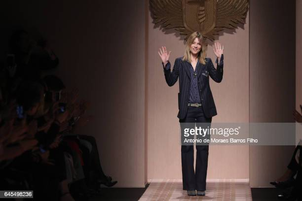 Gaia Trussardi walks the runway at the Trussardi show during Milan Fashion Week Fall/Winter 2017/18 on February 26, 2017 in Milan, Italy.
