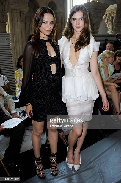 Gaia Weiss and Melissa Mars attend the Stephane Rolland Haute Couture Fall/Winter 2011/2012 show as part of Paris Fashion Week at Cite de...