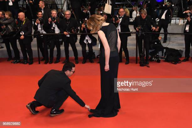 Gaia Weiss attends the screening of Under The Silver Lake during the 71st annual Cannes Film Festival at Palais des Festivals on May 15 2018 in...