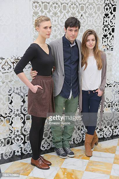 Gaia Weiss Filippo Scicchitano and Aurora Ruffino attend the 'Bianca Come Il Latte Rossa Come Il Sangue' photocall at Hotel Bernini on March 26 2013...