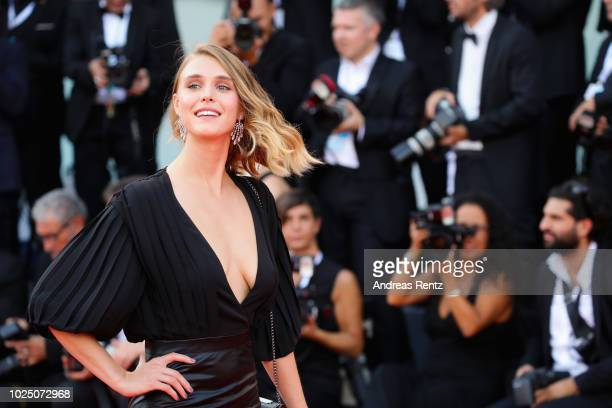 Gaia Weiss walks the red carpet ahead of the opening ceremony and the 'First Man' screening during the 75th Venice Film Festival at Sala Grande on...