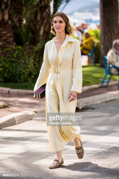 Gaia Weiss wearing a light yellow dress Chanel bag and Francois Pinet animalier shoes is seen in the streets of Cannes during the 71st annual Cannes...