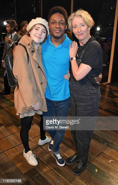 Gaia Wise Ashley Irish and Emma Thompson pose backstage at the West End production of Tina The Tina Turner Musical at The Aldwych Theatre on March 23...