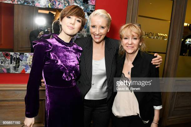 Gaia Wise Emma Thompson and Sonia Friedman attend a special screening of new BBC Two drama King Lear at The Soho Hotel on March 28 2018 in London...
