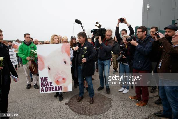 Gaia's Michel Vandenbosch delivers a speech during a demonstration organized by the animal Rights organization 'Animal Rights' at the slaughterhouse...
