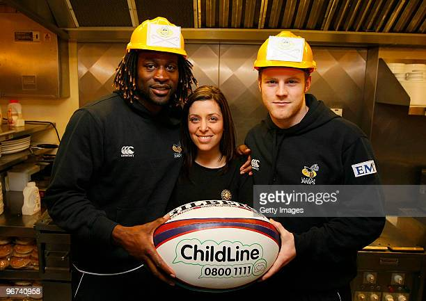 Gail Davis from Sky Sports News together with Joe Simpson and Paul Sackey of London Wasps pose for photos during a photo call to promote the...