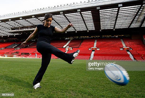 Gail Davis of Sky Sports News kicks for goal during a kicking clinic for media at Old Trafford on June 4 2009 in Manchester England