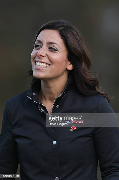Gail Davis the Sky Sports News reporter looks on during the England media session held at Pennyhill Park on November 4 2014 in Bagshot England