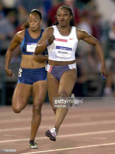 Gail Devers finishes second in women's 100meter quarterfinal in 1136 seconds in the 2004 US Olympic Track Field Trials at Cal State Sacramento's...