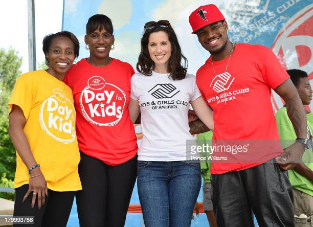 Gail Devers Jackie Joyner Kersee Heather Roop and NeYo attend Boys Girls Clubs Of America 'Day For Kids' Event at Piedmont Park on September 7 2013...