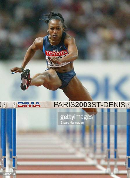 Gail Devers of USA in action during the first round of the women's 100 meter hurdles at the 9th IAAF World Athletics Championship August 25 2003 in...