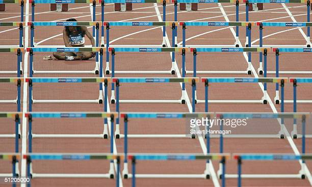 Gail Devers of USA is seen after she fell during the women's 100 metre hurdle on August 22, 2004 during the Athens 2004 Summer Olympic Games at the...