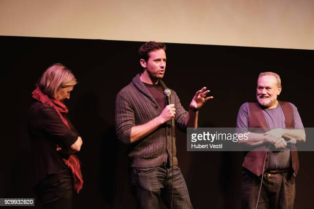 """Gail Egan, Armie Hammer and Lewis Black speak onstage at the premiere of """"Final Portrait"""" during SXSW at Stateside Theater on March 9, 2018 in..."""