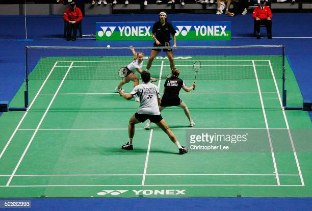 Gail Emms and Nathan Robertson of England beat Graig Cooper and Lianne Shirley of New Zealand during the Yonex All England Open Badminton...