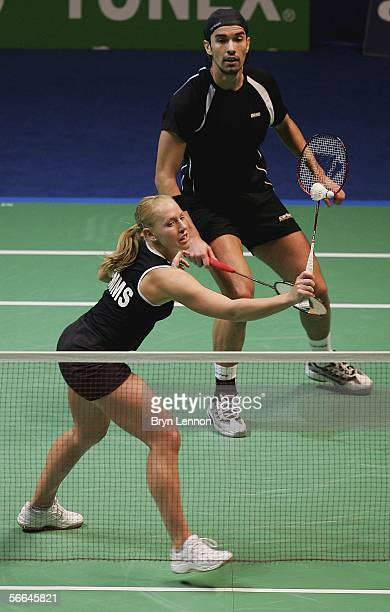 Gail Emms and Nathan Robertson of England in action during the final of the mixed doubles 2006 Yonex All England Open Championship on January 22 at...