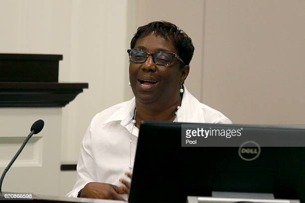 Gail Gilliard a family friend of Walter Scott speaks in the courtroom during the trial for North Charleston Police Officer Michael Slager Thursday...