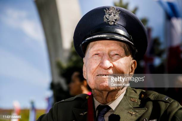 Gail Halvorsen a former pilot of the United States Air Force who flew in the Berlin Airlift, poses for a photo as he arrives to the celebration...