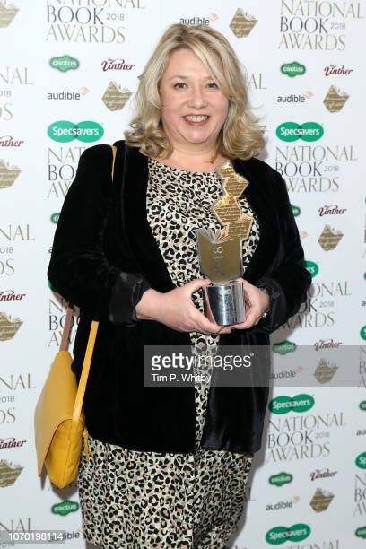 Gail Honeyman author of 'Eleanor Oliphant is Completely Fine' with the award for Popular Fiction Book of the Year at the National Book Awards at RIBA...