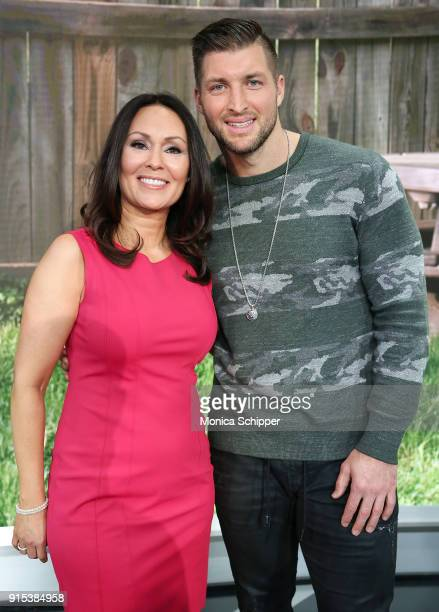 Gail Miller Bisher and Tim Tebow visit 'Fox Friends' at Fox News Studios on February 7 2018 in New York City