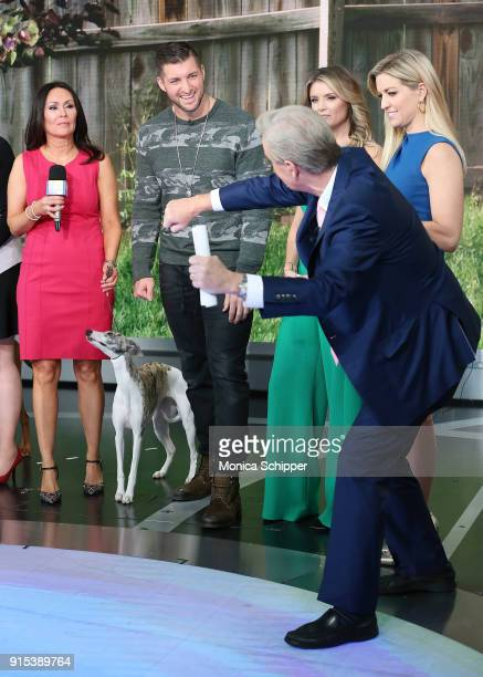 Gail Miller Bisher and Tim Tebow with Jillian Mele Ainsley Earhardt and Steve Doocy visit Fox News Studios on February 7 2018 in New York City