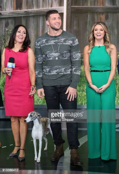 Gail Miller Bisher and Tim Tebow with Jillian Mele visit Fox Friends at Fox News Studios on February 7 2018 in New York City