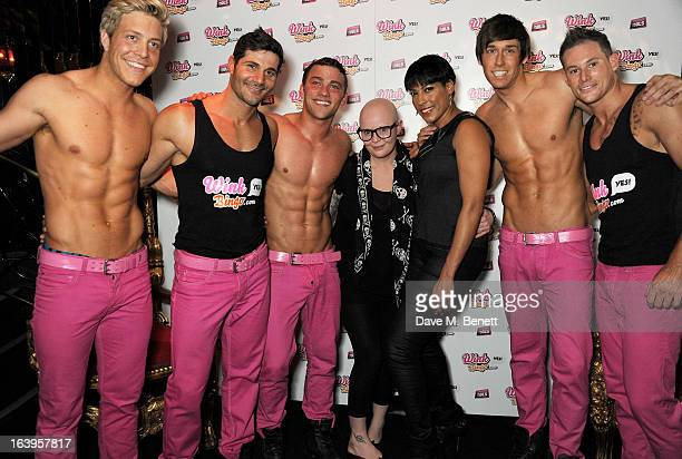 Gail Porter and guest pose with the Dream Idols at Wink Bingo's Gentle Woman's Night featuring a performance from The Dream Idols at Peter...