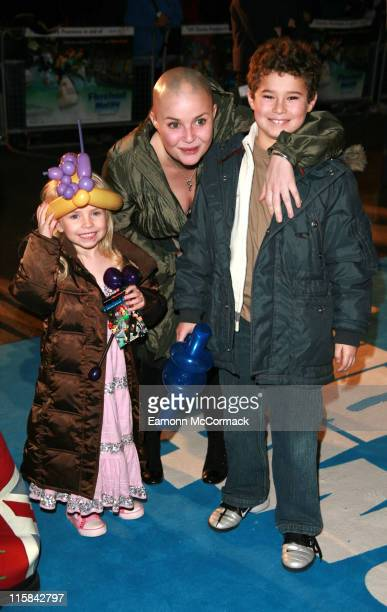 Gail Porter and Holly Hipgrave and Guest during Flushed Away London Premiere Outside Arrivals at Empire Leicester Square in London Great Britain