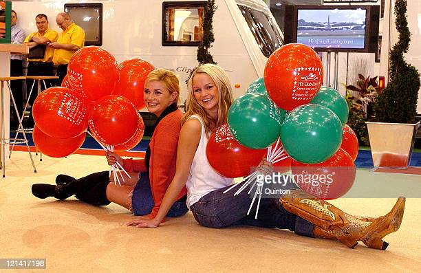 Gail Porter and Jennifer Ellison during Cool Chicks Go Caravanning Photocall at Earls Court in London Great Britain