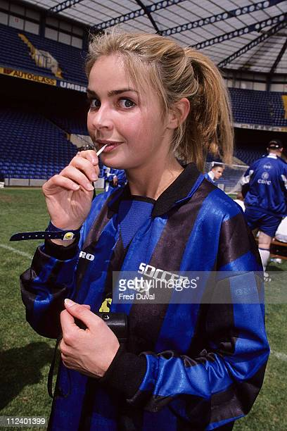 Gail Porter during 1999 The Music Industry Soccer Six at Chelsea FC in London Great Britain