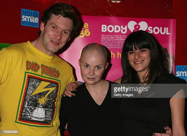 Gail Porter poses with boyfriend James Lloyd and friend Abigail Gorman at the aftershow party for the Scissor Sisters concert at KOKO on February 18...