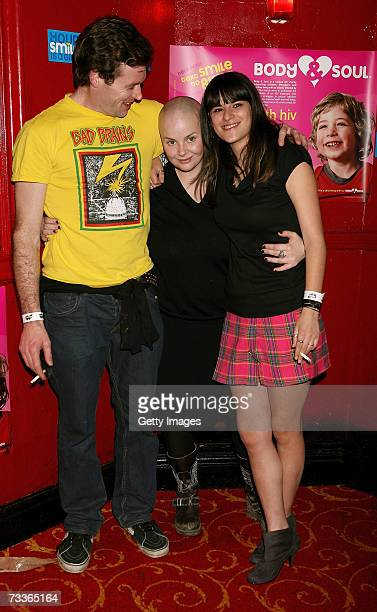 Gail Porter poses with friend Abigail Gorman and boyfriend James Lloyd at the aftershow party for the Scissor Sisters concert at KOKO on February 18...