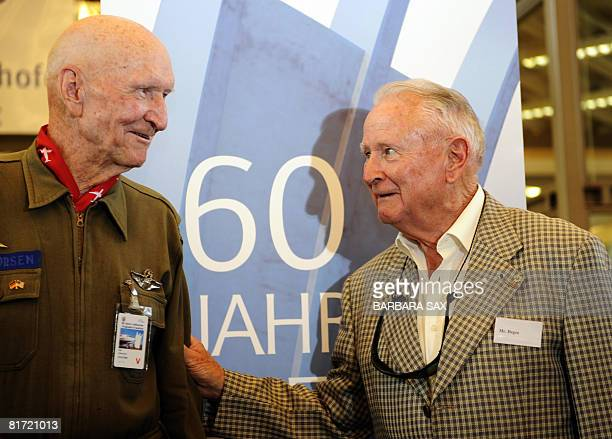 """Gail S. Halvorsen , veteran of the US Air Force, welcomes Roger Degen, former pilot of the French """"Groupe de Transport 1/61 Touraine"""" military air..."""