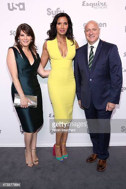 Gail Simmons Padma Lakshmi and Tom Colicchio attend 2015 NBCUniversal Cable Entertainment Upfront at The Jacob K Javits Convention Center on May 14...