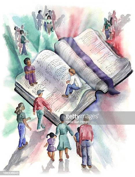 Gail Woynar color illustration of kids gathered around and sitting on a big open Bible Sun Herald /MCT via Getty Images