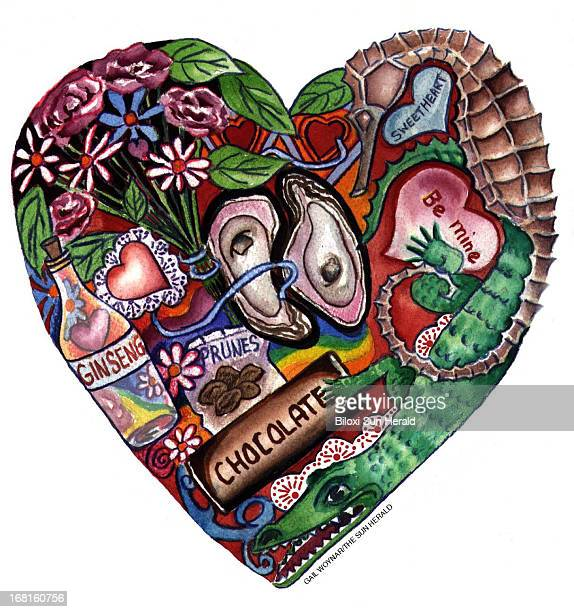 Gail Woynar color illustration of valentine's heart mad up of candy heartsl ginseng chocolate flowers etc Sun Herald /MCT via Getty Images