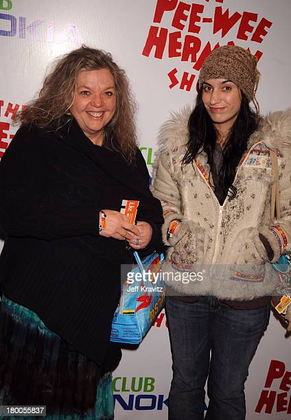 Gail Zappa and daughter Diva Zappa arrive at The Peewee Herman Show Los Angeles Opening Night at Club Nokia on January 20 2010 in Los Angeles...