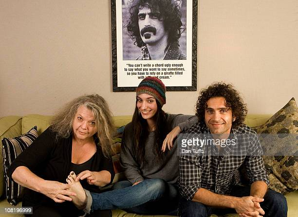 Gail Zappa Diva Zappa and Dweezil Zappa portrait session on October 25 2010 in Los Angeles California