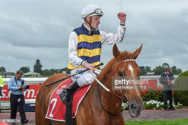 Gailo Chop ridden by Mark Zahra returns to the mounting yard after winning the Carlton Draught Peter Young Stakes at Caulfield Racecourse on February...