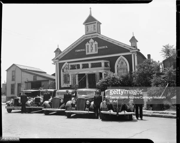 Gaines Funeral Church with five hearses and cars and attendants 220 Auburn Street East Liberty Pittsburgh Pennsylvania May 1939