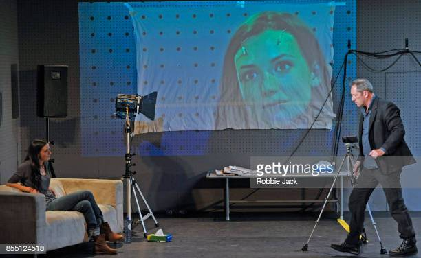 Gaite Jansen as Anna and Gijs Scholten van Aschat as Hendrik Vogler in Taneelgroup Amsterdam's production of Ingmar Bergman's After the Rehearsal...