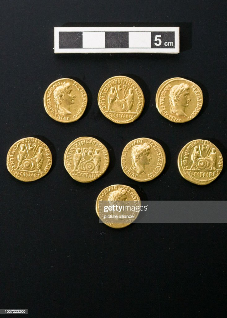 Gaius/Lucuis gold coins on show at the Kalkriese museum park in