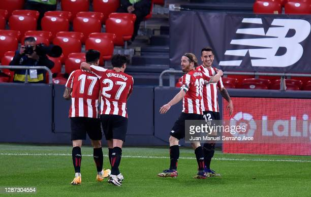 Gaizka Larrazabal of Athletic Bilbao celebrates with his team mates after scoring their team's fourth goal during the La Liga Santander match between...