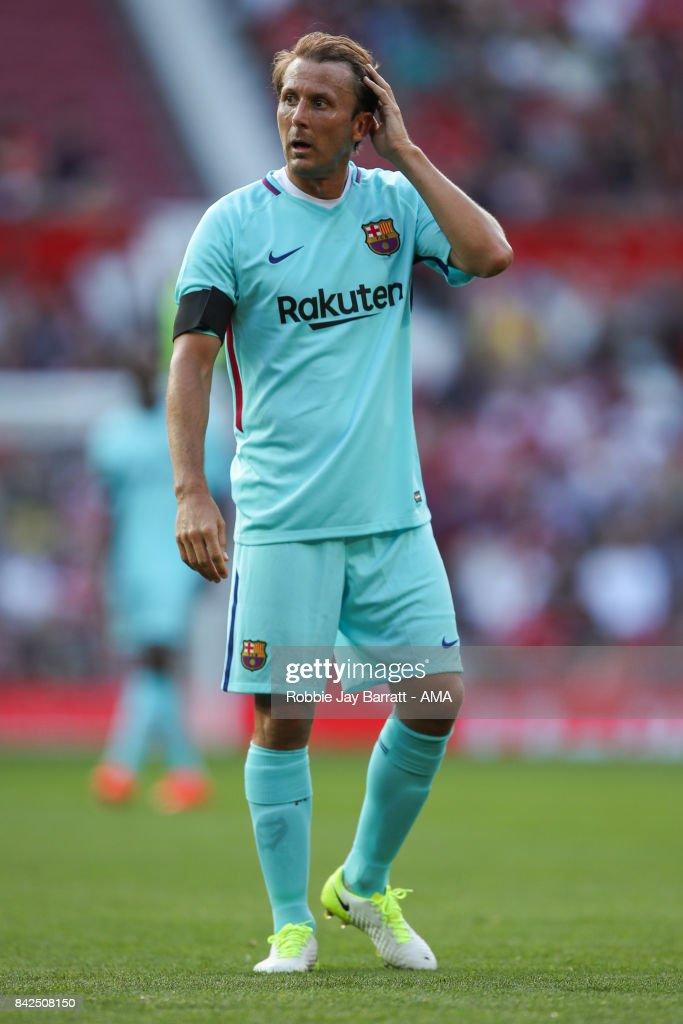 Gaizka Mendieta of FC Barcelona Legends during the match between Manchester United Legends and FC Barcelona Legends at Old Trafford on September 2, 2017 in Manchester, England.