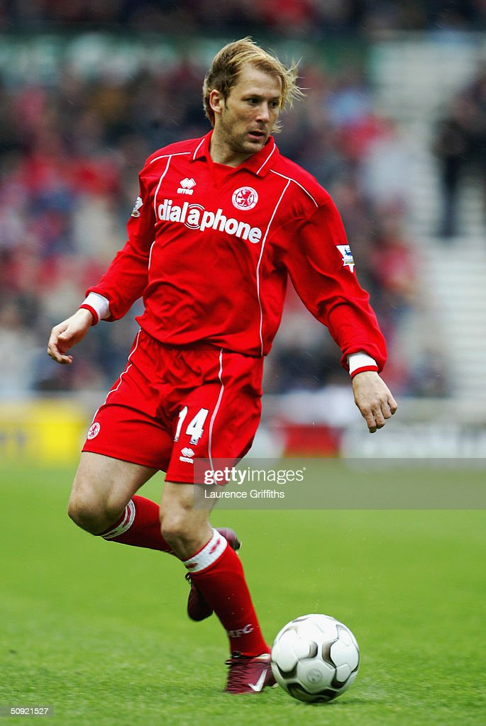 Gaizka Mendieta of Middlesbrough during the FA Barclaycard Premiership match between Middlesbrough and Bolton Wanderers at The Riverside Stadium on April 3, 2004 in Middlesbrough, England.