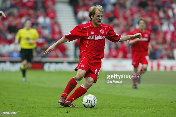 Gaizka Mendieta of Middlesbrough during the FA Barclaycard Premiership match between Middlesbrough and Aston Villa at The Riverside Stadium on April...
