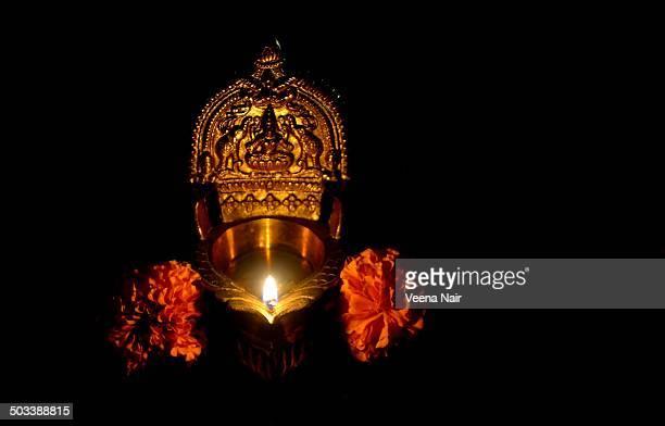 gajalakshmi vilakku(lamp)-diwali celebrations - goddess lakshmi stock photos and pictures