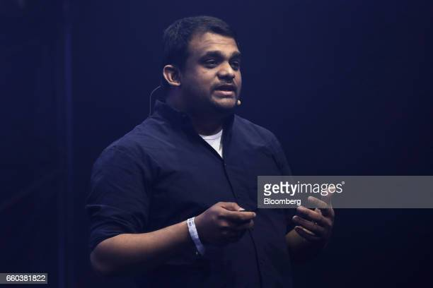 Gajan Mohanarajah, co-founder and chief executive officer of Rapyuta Robotics Co., speaks during the Slush Tokyo startups event in Tokyo, Japan, on...