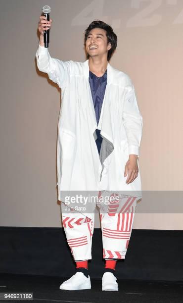 Gaku Sano attends the Japan premiere of 'Avengers Infinity War' at the Toho Cinemas Hibiya on April 16 2018 in Tokyo Japan